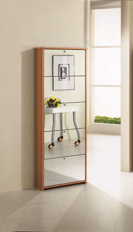 Arredamento terraneo interno mobiletto scarpiera ciliegio con specchio el 5000 4 ebay - Scarpiera con specchio ...