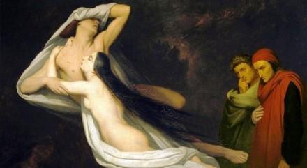 Ary Scheffer – Francesca e Paolo davanti a Dante e Virgilio, 1835, Olio su tela