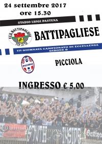 Locandina incontro F.C.D. Battipagliese 1929 - Picciola